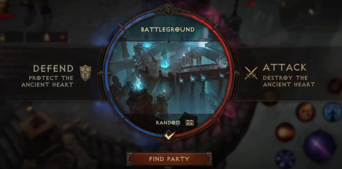 Вход в Battleground и выбор команды
