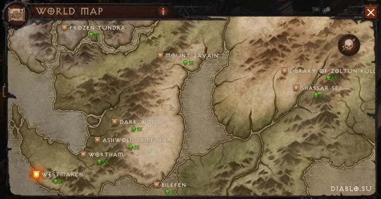Карта мира на уровне сложности Ад 1 Diablo Immortal