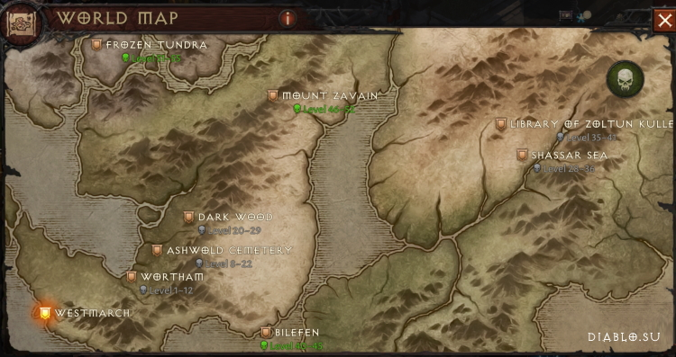 Карта мира мира на Нормальном уровне сложности Diablo Immortal