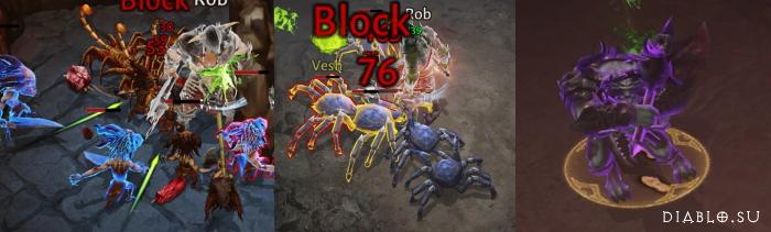 Синий, желтый и фиолетовый монстры в игре