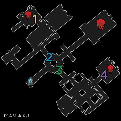 Карта первого этажа подземелья Гробница Короля Фахира