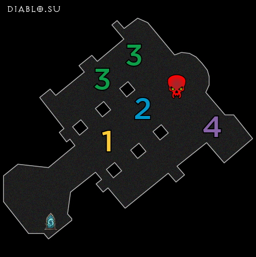 Карта первого этажа Разлома Безумного Короля