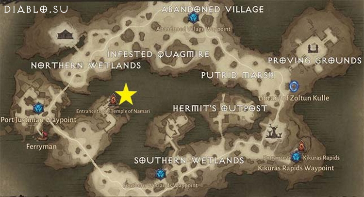 Карта подземелья Храм Намари