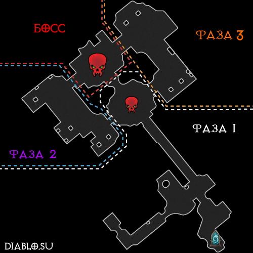 Карта подземелья Забытая Башня с фазами