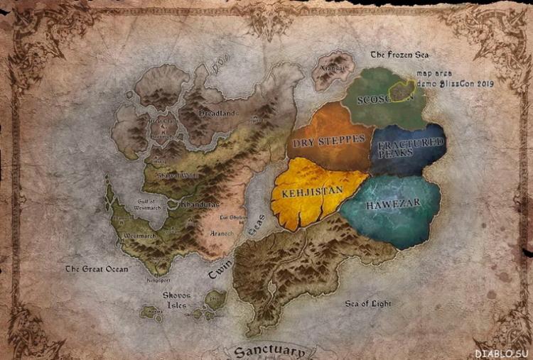 Карта Санктуария во вселенной Диабло